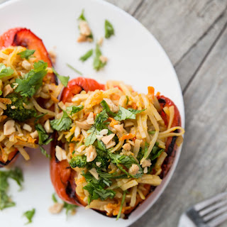 Peanut Ginger Noodle-Stuffed Grilled Red Peppers