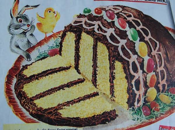 Easter Egg 4 Layer Cake....1953. .from A Box Mix Recipe