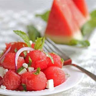 Greek Watermelon Feta Mint Salad.