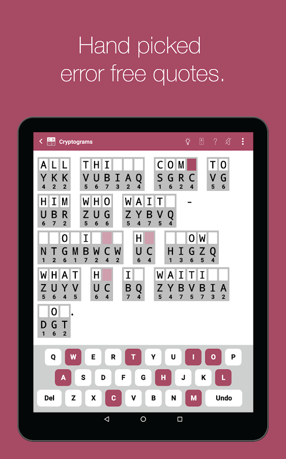Cryptogram Word Puzzles- screenshot