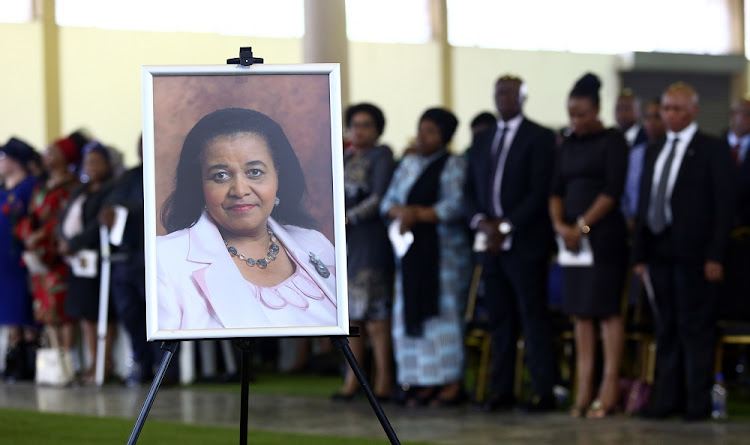 A portrait of the late Minister Edna Molewa is displayed during the official memorial service held at Tshwane Events, on Wednesday, October 3 2018.
