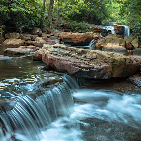 Down the Ledge by Kevin Frick - Landscapes Waterscapes ( stream, west virginia, falls, waterfall )