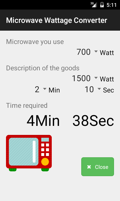 Microwave Wattage Converter Screenshot