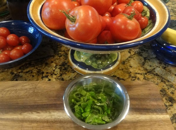 Thinly slice your fresh basil.