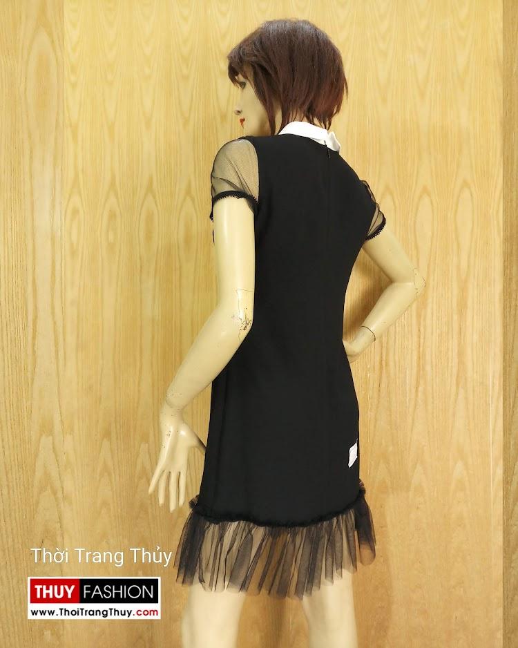 Váy suông cổ cánh sen phối ren màu đen V681 thời trang thủy nam định
