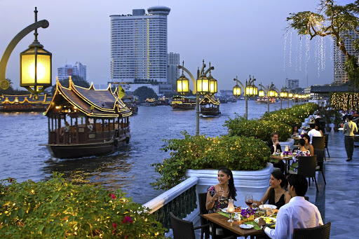 The sights and sounds of the Chao Phraya on the terrace. Picture: SUPPLIED