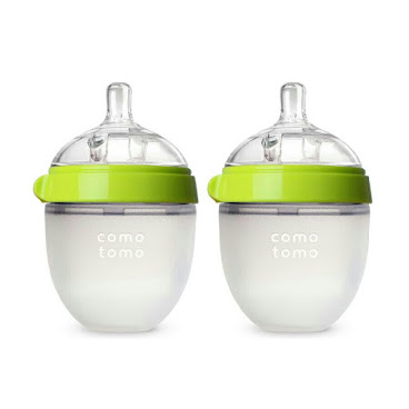 Comotomo Baby Bottle Green, 5oz, 2 count