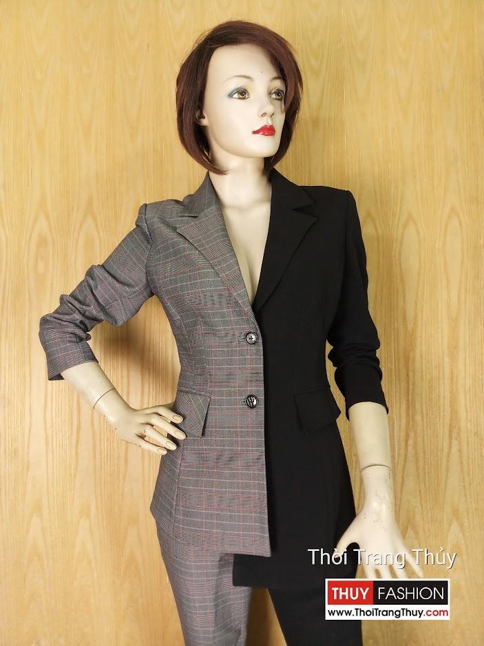 Áo vest nữ bất đối xứng kẻ caro phối màu đen V636 Thời Trang Thủy