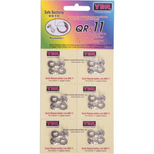 YBN 11-Speed QRS Link, Card of 6, Reusable
