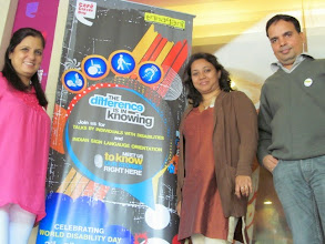 Photo: Shobha Sanchdev from Trinayani, Namrita and her colleague from Deafway at the CCD outlet in Delhi during our 2012 World Disability Day Celebrations.