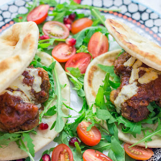 Moroccan Meatball Flatbreads with Aioli.