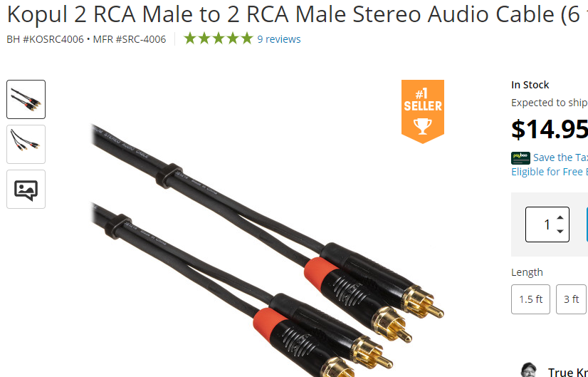 listing for Stereo Cables in an online shop