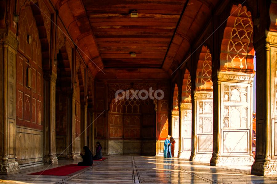 Scenes at the Jama Masjid Mosque by Rafael Uy - City,  Street & Park  Street Scenes ( prayer, jama masjid mosque, new delhi, mosque, praying, india, delhi )