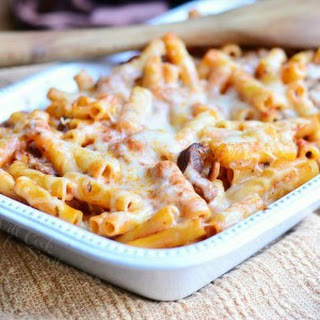 Italian Cheesesteak Baked Ziti