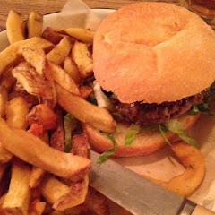 Beef burger and chips