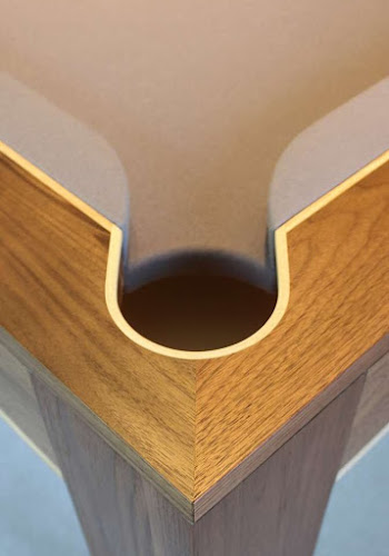 Corner Pocket of a English Pool Table - Steam Bent Ash Inlay