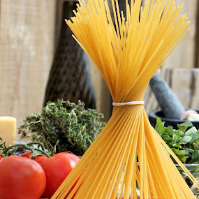 Lets cook Spaghetti by Sue Bensted - Food & Drink Ingredients ( wine, ingredients, hunger, spaghetti, food, family, cooking, eat, pasta, meal )