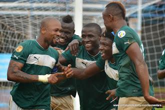 Photo: Ibrahim 'Obrey' Kargbo celebrates his penalty goal with teammates 'Crespo', Strasser, 'Poborsky' and Suma.  [Leone Stars Vs. Equatorial Guinea, 7 Sept 2013 (Pic: Darren McKinstry)]