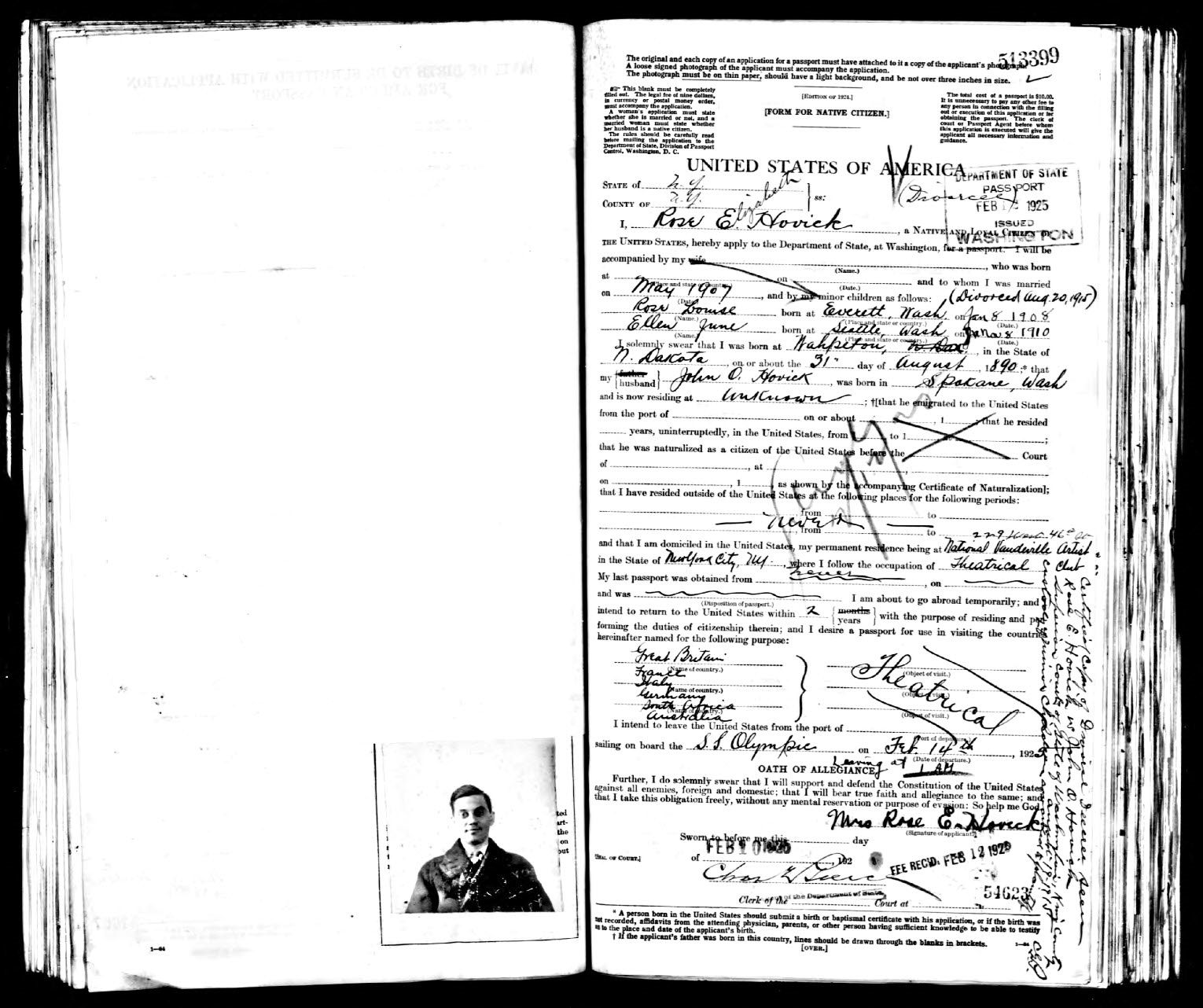 Photo: Passport application for Rose Hovick (Gypsy Rose Lee & June Havoc mother)