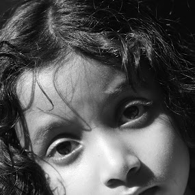 Beauty in Black & White by Swarup Roy Chowdhury - Babies & Children Child Portraits ( girl child, babies, black & white, candid, portraits )