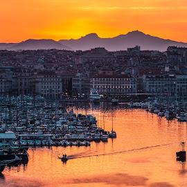 Marseille by Stefania Loriga - City,  Street & Park  Vistas ( marseille, sunset, france, sun, sea, boat )