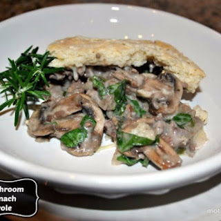Tis the Season for Comfort Food, Beefy Spinach and Mushroom Casserole.