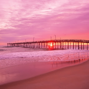 Pink Atlantic Sunrise by Robert Mullen - Landscapes Sunsets & Sunrises ( shore, sand, nags head pier, atlantic ocean, nc, pier, ocean, beach, sunrise, nags head, north carolina,  )