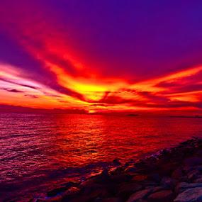 Red Sunset by Muhammad Irwansyah - Landscapes Sunsets & Sunrises ( sunset melaka red orange )