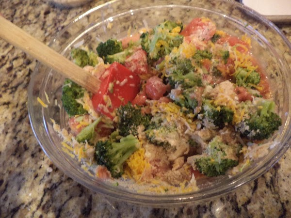 Add broccoli, cheddar cheese, mayonnaise, salt, pepper, and remaining crumbs and Parmesan cheese. Mix gently.