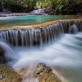 tad khongsi waterfall by Lester Woodward - Landscapes Waterscapes ( waterfall, tad khongsi, long exposure, luang prabang, cambodia,  )