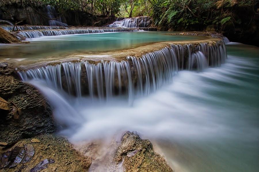 tad khongsi waterfall by Lester Woodward - Landscapes Waterscapes ( waterfall, tad khongsi, long exposure, luang prabang, cambodia,  )