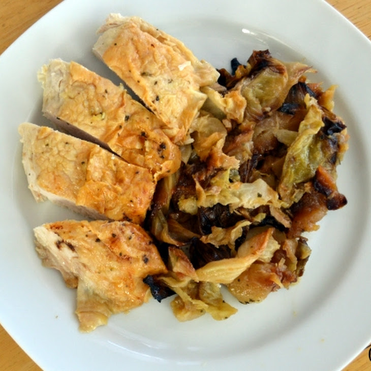 Roast Chicken with Cabbage and Apples
