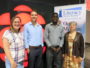 Photo: (L-R): LNS Executive Director Jayne Hunter, ALP Instructor Mark Devereux, 2016 Gary Mason Learner Achievement Award Winner Hakim Ibrahim and Janice Mason.