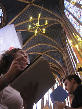Photo: Molly and Josh sketching in Sainte Chapelle.