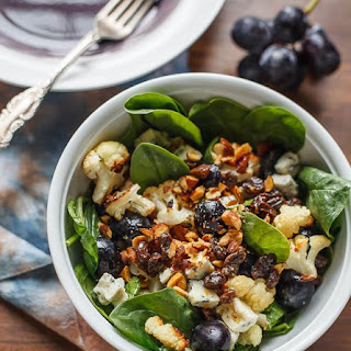 Cauliflower And Spinach Salad With Grapes And Blue Cheese