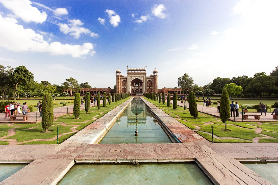 A for Adobe by Amit Aggarwal - Buildings & Architecture Public & Historical ( clouds, building, fountains, taj mahal, agra, india, historical, pathways, entry gate, evening, garden, up )