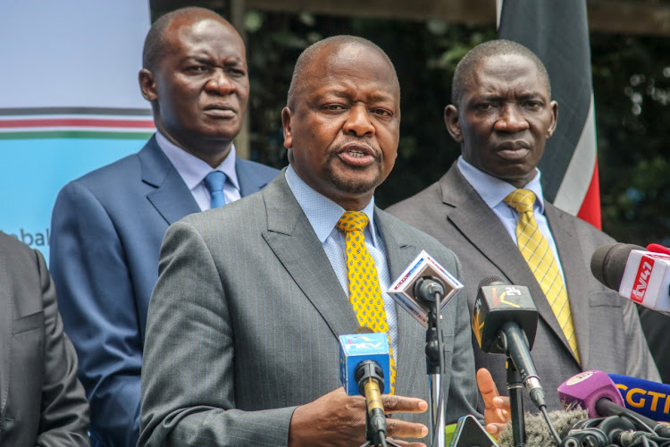 Health CS Mutahi Kagwe announces four more confirmed Coronavirus cases during a press conference at Afya House Nairobi on 18th March 2020.