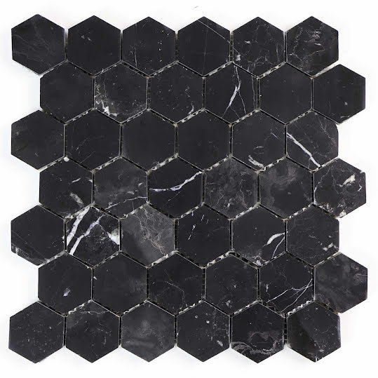 Mosaik Marmor Hexagon Marble Black