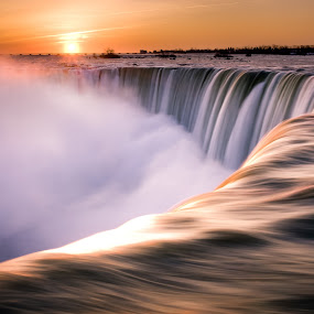 Niagara Falls by Derek Kind - Travel Locations Landmarks ( water, waterfalls, hdr, waterfall, morning, sun, dawn, niagara falls, fall, falls, niagra, long exposure, niagara, sunrise, mist )