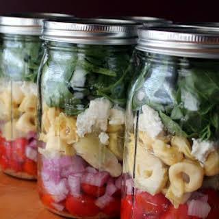 Artichoke and Tortellini Mason Jar Salad.
