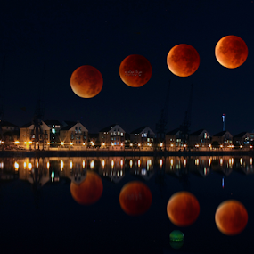 Super bloodmoon by Kristelle Matthew - Landscapes Sunsets & Sunrises ( bloodmoon totallunareclipse moon reflections night )