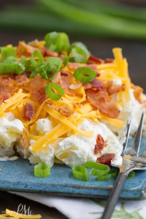 """Bacon Ranch Twice Baked Potato Salad Recipe """"Bacon Ranch Twice Baked Potato..."""
