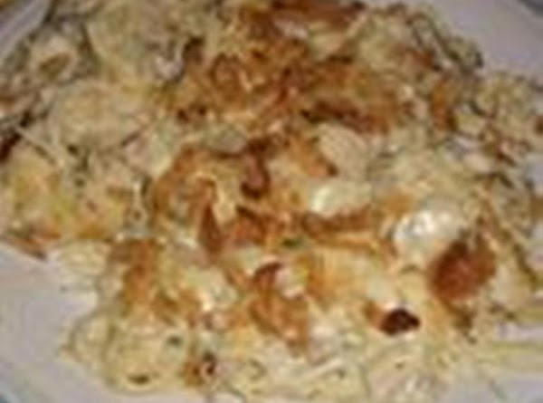 1.Preheat oven to 375 degrees.  2.Cook egg noodles to box directions.  3.In very large...