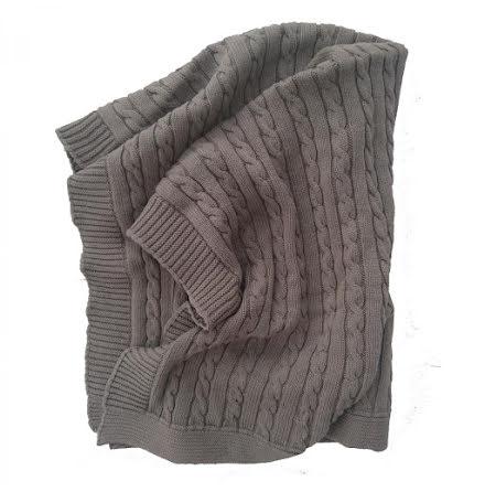 Summerville stickad filt grå eko