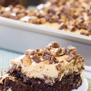 Peanut Butter Cup Poke Cake.