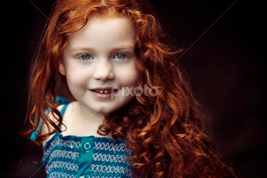 Redhead in the yard by Joseph Humphries - Babies & Children Children Candids ( canon, blueeyes, beautiful, bluedress, innocence, greatsmile, redhead, bokeh, outside,  )