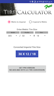 Tire Size Calculator FREE- screenshot thumbnail