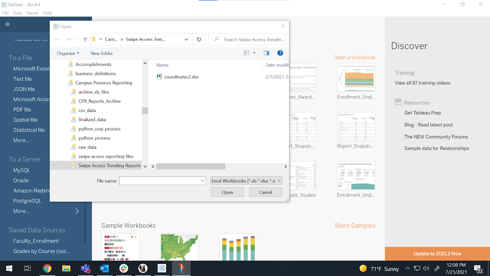 data connection pane: select Microsoft Excel from the list of options