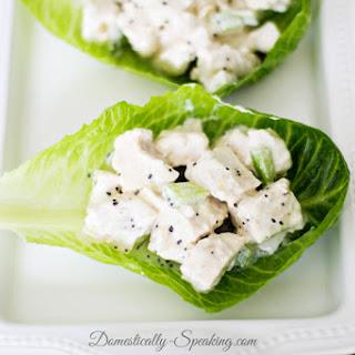 Low Calorie Chicken Salad Sandwich Lettuce Wrap with Lemon Poppy Seed Dressing.