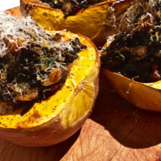 Stuffed Butternut Squash with Wild Rice, Chorizo, and Mushrooms